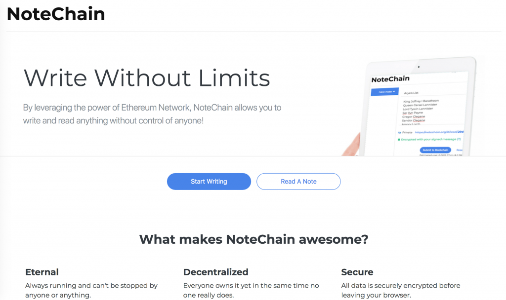 notechain app screenshot