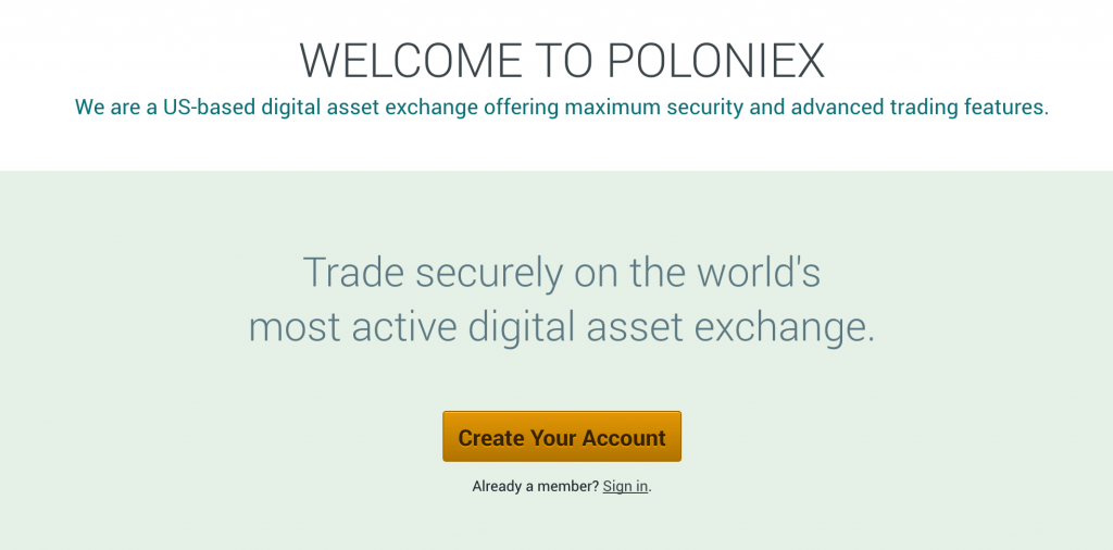 poloniex app screenshot