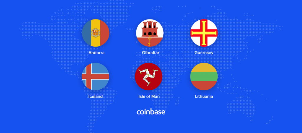 maps of 6 new countries where coinbase recently launched