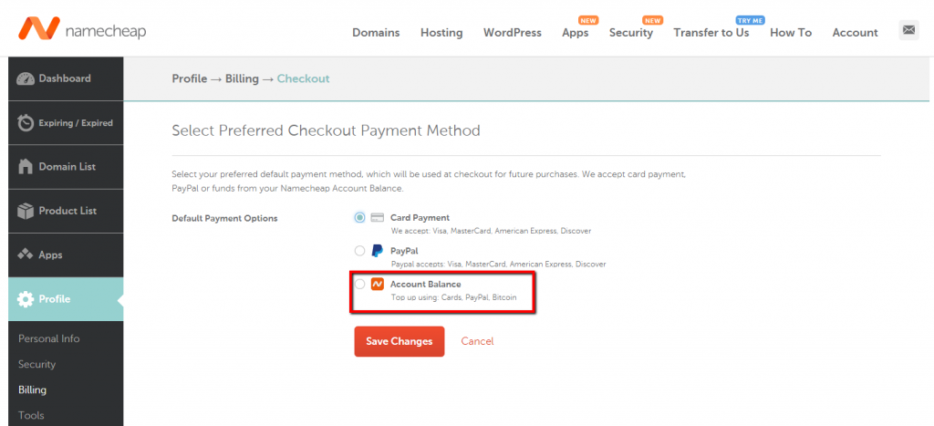 Namecheap domain registrar bitcoin top up